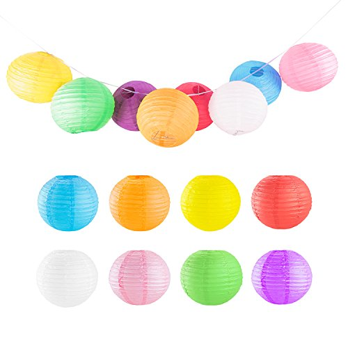8' Colorful Assorted Chinese/Japanese Hanging Paper Lanterns Metal Frame for Home Lamps, Party, Event Decoration (8 Pack)