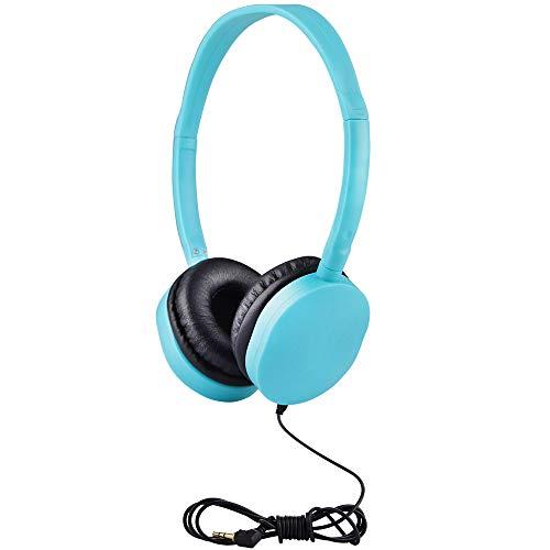 Kids Headphones Bulk 5 Pack for School Students Children Teen Boys Girls, Hongzan Wholesale Durable Headphones Classroom Earphones (Baby Blue)