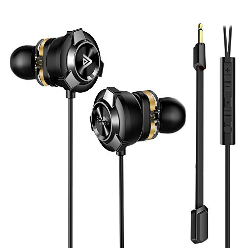 In-Ear Gaming Earbuds, Sound Panda SPE-G9 Dual Drivers Earbuds with Dual Mic Headphones, Noise Cancelling Surround Sound, Wired Earphones 3.5mm for PS4, PS5, Xbox, One, PC, Laptop, Mobile Game (Black)