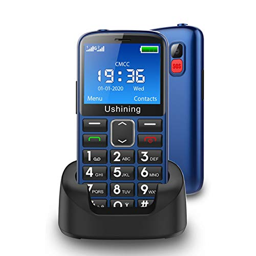 Ushining Seniors Cell Phones Unlocked SOS Button Hearing Aid Compatible 3G AT&T Senior Basic Cell Phones Large Volume 2.4 Inch HD Screen Unlocked Feature Phones with Charging Dock (Blue)