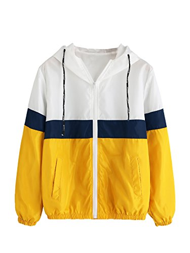 SweatyRocks Women's Colorful Splash Printing Zip up Windbreaker Jacket with Hood (Medium, White_Yellow)