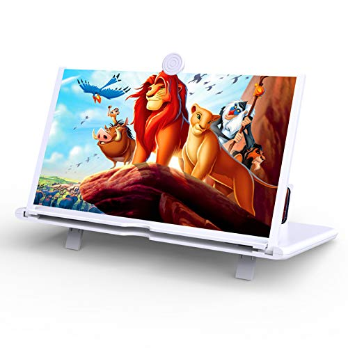 """14"""" Phone Screen Magnifier,3D HD Screen Projector with Foldable Stand Holder,Cellphone Screen Amplifier for Movies,Videos,Gaming and Readings,Compatible with All Phones (White)"""