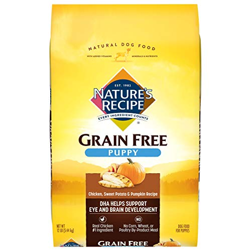 Nature's Recipe Grain Free Puppy Food, Chicken, Sweet Potato & Pumpkin, 12 Pounds