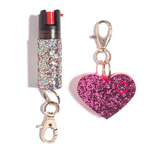 Super-Cute Safety Set Includes Glitter Pepper Spray Keychain (10% Max OC Strength) and 115 Decibel Heart-Shaped Rhinestone Personal Alarm with Gold Keychain Clip