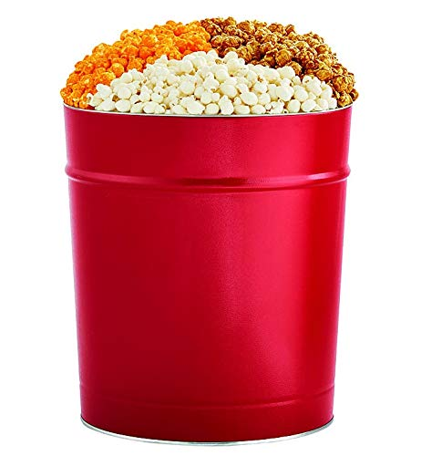 The Popcorn Factory Popcorn Gift Tin, Simply Red, 3.5 Gallons (Robust Cheddar, Butter, Caramel)