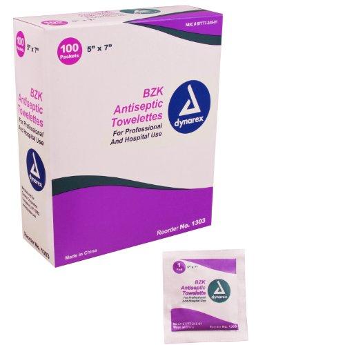 Dynarex BZK Antiseptic Towelettes 5' x 7' 10/100/Cs