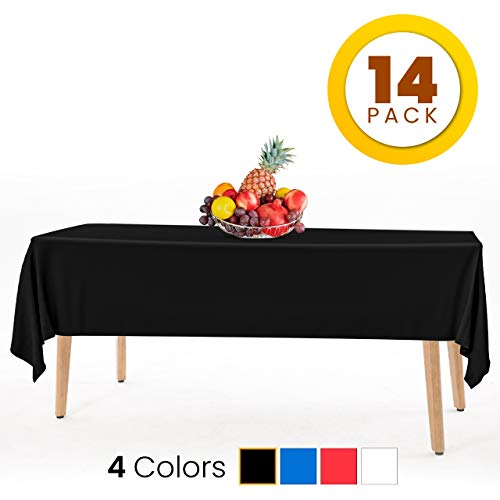 HSGUS 14 Pack Black Plastic Tablecloth - 54 x 108 in. Rectangle Disposable Plastic Table Cloth - Party Table Covers Use for Indoor Or Outdoor Tablecloths Pack (Multi Color Available)