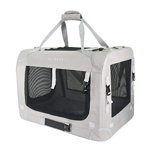 Petseek Extra Large Cat Carrier Soft Sided Folding Small Medium Dog Pet Carrier 24'x16.5'x16' Travel Collapsible Ventilated Comfortable Design Portable Vehicle