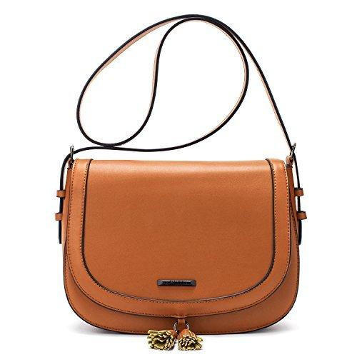 ECOSUSI Women's Saddle Bag Purses Crossbody Shoulder Bag with Flap Top & Tassel, Brown