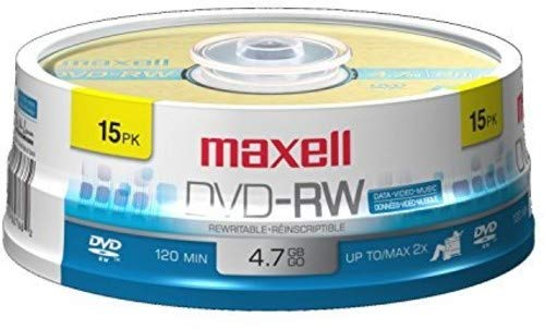 Maxell 635117 Rewritable Recording Format 4.7Gb DVD-RW Disc Playback on DVD Drive or Player and Archive High Capacity Files