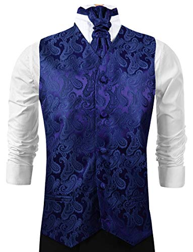 Navy Blue Paisley Tuxedo Vest Set