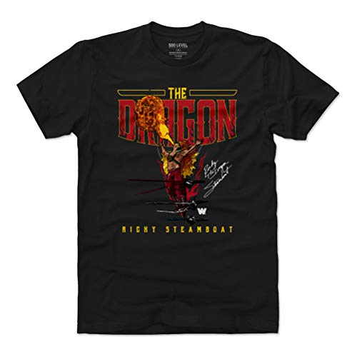 500 LEVEL Ricky The Dragon Steamboat Shirt (Cotton, Large, Black) - WWE Men's Apparel - Ricky The Dragon Steamboat Fire WHT