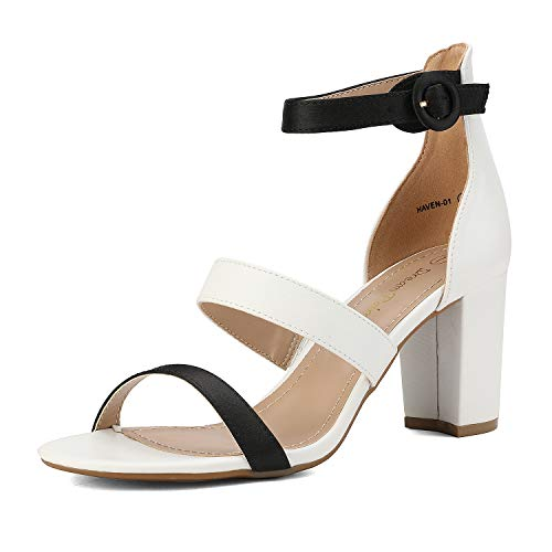 DREAM PAIRS Women's White Black Dress Pump Open Toe Ankle Strap Low Chunky Block Heel Sandals Size 8.5 M US Haven-01