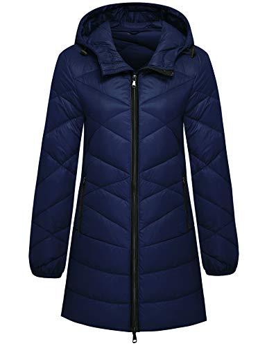 Wantdo Women Hip-Length Packable Down Jacket Lightweight Puffer Coat Navy Medium
