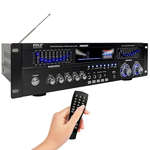 6-Channel Bluetooth Hybrid Home Amplifier - 1600W Home Audio Rack Mount Stereo Power Amplifier Receiver w/Radio, USB/AUX/RCA/Mic, Optical/Coaxial, AC-3, DVD Inputs, Dual 10 Band EQ - Pyle PREA90WBT