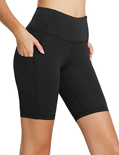 BALEAF Women's 8' High Waist Biker Workout Yoga Running Compression Exercise Shorts Side Pockets Black Size M
