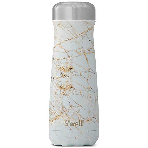 S'well Stainless Steel Traveler - 20 Fl Oz - Calacatta Gold - Triple-Layered Vacuum-Insulated Travel Mug Keeps Coffee, Tea and Drinks Cold for 36 Hours and Hot for 15- BPA-Free Water Bottle