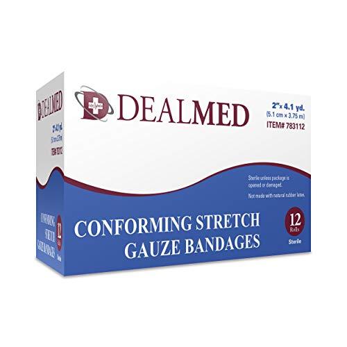 Dealmed 2' Sterile Conforming Stretch Gauze Bandages, 4.1 Yards Stretched, 12 Rolls