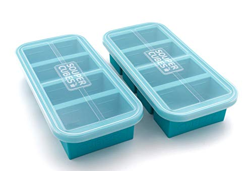 Souper Cubes 1-Cup Extra-Large Silicone Freezing Tray with Lid - 2 pack - makes 8 perfect 1cup portions - freeze soup broth or sauce