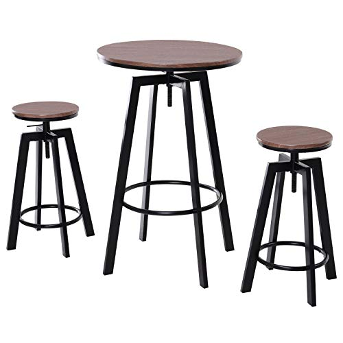 HOMCOM 3 Piece Industrial Modern Adjustable Bar Height Bistro Table and Swivel Pub Stools Set