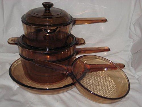 7 Piece Set - Vintage Corning Visions Visionware Amber Glass Sauce 1 Liter & 1.5 Liter Pans, 7 & 9 1/2 Inch Skillets & Double Boiler Set w/ 2 Lids