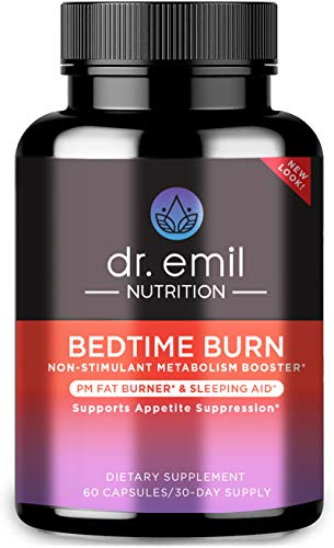 Dr. Emil Nutrition Bedtime Burn PM Fat Burner, Sleep Aid and Nighttime Appetite Suppressant, Stimulant-Free Weight Loss Pills and Metabolism Booster for Men and Women, 30 Day Supply