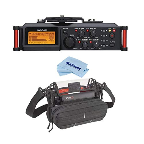 Tascam DR-70D 4-Channel Audio Recorder for DSLR Cameras, 20Hz-20KHz Frequency Response, 4 XLR/TRS Combo Jacks, Two Built-in Mics - with K-TekStingray MixPro Bag with Kickstand, Microfiber Cloth