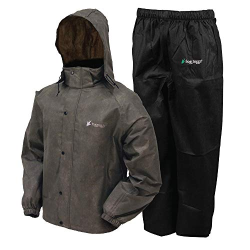 FROGG TOGGS Men's Classic All-Sport Waterproof Breathable Rain Suit, Stone Jacket/Black Pants, X-Large