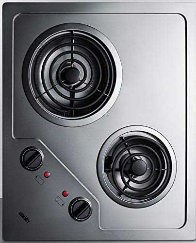 Summit CR2B224S Two Burner 230V Electric Cooktop Designed For Portrait or Landscape Installation With Coil Elements and Stainless Steel Finish Fits 20' x 16' Counter Cutouts, 3.38'H x 21.25'W x 18.0'D