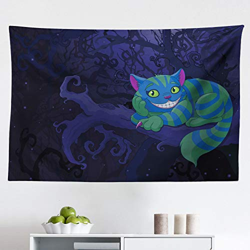 Lunarable Alice in Wonderland Tapestry, Chester Cat Sitting on Branch Fairytale Forest with Character, Fabric Wall Hanging Decor for Bedroom Living Room Dorm, 45' X 30', Purple Green
