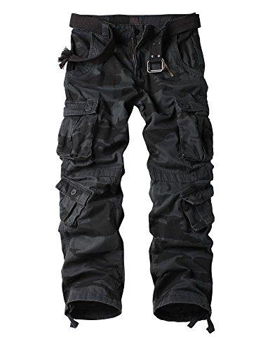 AUSZOSLT Men's Cotton Casual Military Army Cargo Camo Combat Work Pants Black Camo 38