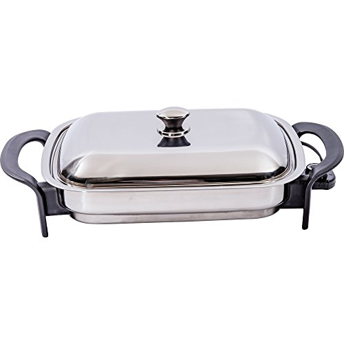 Precise Heat Stainless Steel 16-Inch Rectangular Surgical Electric Skillet