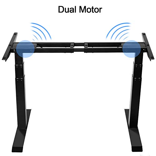 Forfar Dual Motor Electric Standing Desk Frame Sit Stand Desk Frame Workstation Height Adjustable Sit Standing Table Base with Memory Preset Button Controller, Motorized Table(Frame Only)