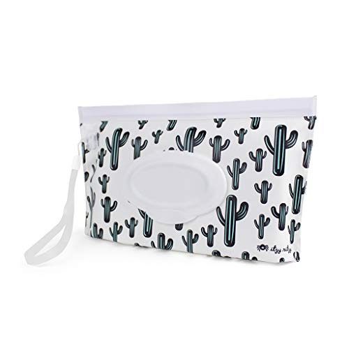 Itzy Ritzy Reusable Wipe Pouch – Take & Travel Pouch Holds Up To 30 Wet Wipes, Includes Silicone Wristlet Strap, Cactus