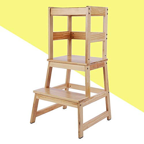 KATARUS Kitchen Step Stool for Kids and Toddlers with Safety Rail Children Standing Tower for Kitchen Counter, Step Up Learning Stool Monthers' Helper, Solid Hardwood Construction, Natural Finish
