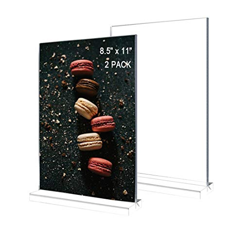 Acrylic Sign Holder 8.5 x 11 Inch 2 Pack Sturdy Plastic Table Menu Display Stand for Vendor Conventions Classroom Trade Shows Display Menus