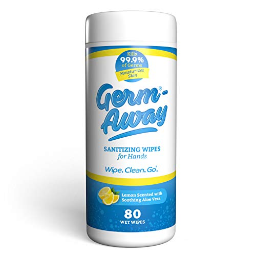 Germ-Away Antibacterial Hand Wipes, Kills 99.9% Germs on Skin, 80 Wipe Canister