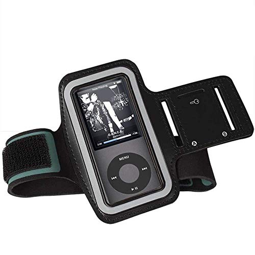 DeeFec Sports Wrist Armband for MP3 Players, Scratch Resistant with Sweatproof and Breathable MP3 Player Armbands,Suitable for Your Workout, Key Pocket and Earphone Hole - Black