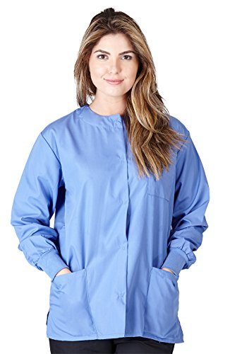 Natural Uniforms Women's Workwear Lightweight Warm Up Jacket (Small, Ceil Blue)
