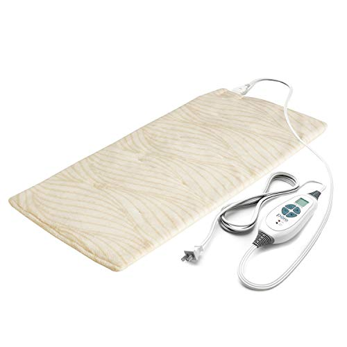 "Pure Enrichment PureRelief Luxe Micromink Electric Heating Pad (12""x24""), 6 InstaHeat Settings, Ultra-Soft, Machine-Washable, Auto Shut-Off - for Temporary Pain Relief (Sand Waves Designer Print)"