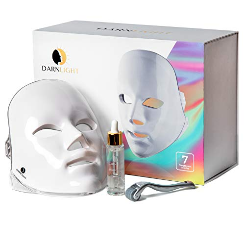 Darnlight LED Light Therapy Mask - 7 Color LED Face Mask Light Therapy Facial Treatment - Blue & Red Light Therapy Mask for Acne Fine Lines Wrinkles & Rosacea