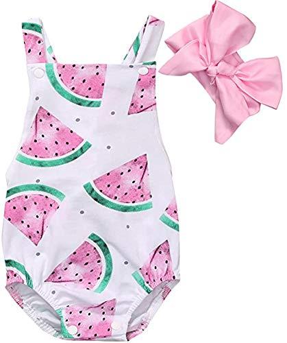 illikkuyax Newborn Baby Girl Sleeveless Bodysuit Romper Watermelon Jumpsuit 12 Months