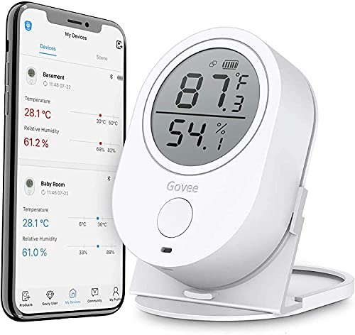 Govee Bluetooth Hygrometer Thermometer, Indoor Digital Humidity Temperature Gauge with APP Alert, 2 Year Data Record and Export, for Room Greenhouse and Incubator Humidor