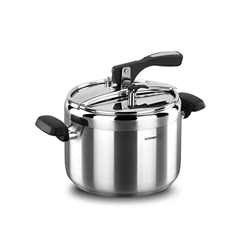 korkmaz Turbo 7 Quart Stove Top Pressure Cooker Stainless Steel Cookware Induction Compatible, Manual Slow Cooker, Rice Cooker, Steamer, Saute, Yogurt Maker and Warmer