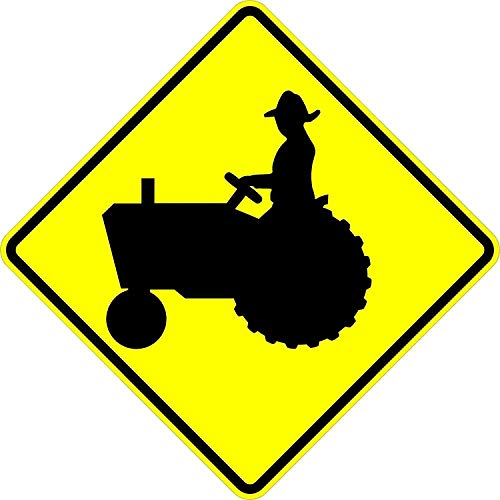 Tractor Crossing Sign - 18 X 18 Warning Sign. A Real Sign. 10 Year 3M Warranty.