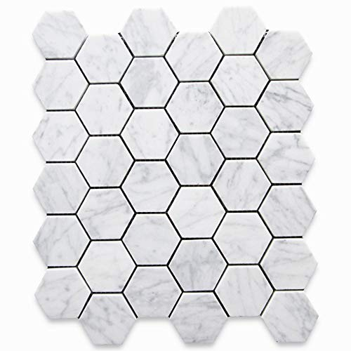 Stone Center Online Carrara White Italian Carrera Marble Hexagon Mosaic Tile 2 inch Honed Venato Bianco Bathroom Kitchen Backsplash Floor Tile