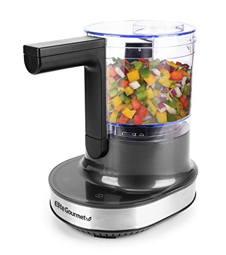 Elite Gourmet Food Chopper Up/Down Chopping Motion, Emulsify Puree Mince, Touch Screen Controls + Stainless Steel Blades, 4 Cup, Black