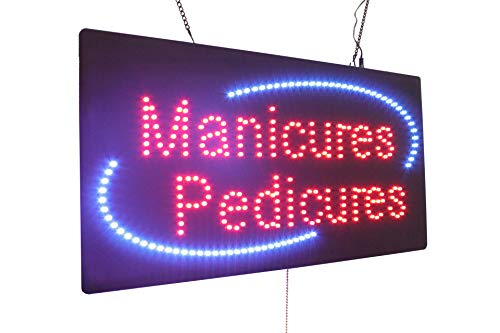 Manicures Pedicures Sign, TOPKING Signage, LED Neon Open, Store, Window, Shop, Business, Display, Grand Opening Gift, Nails