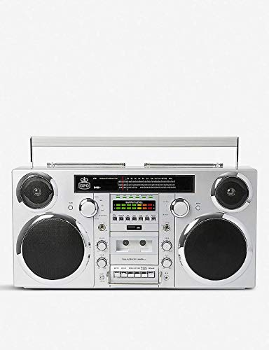 GPO Brooklyn 1980S-Style Portable Boombox - CD Player, Cassette Player, FM & DAB+ Radio, USB, Wireless Bluetooth Speaker - Silver