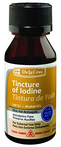 De La Cruz 2% Iodine First Aid Antiseptic, Made in USA 1 FL OZ